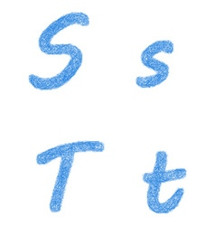 Blue sketch font set - letters s t vector