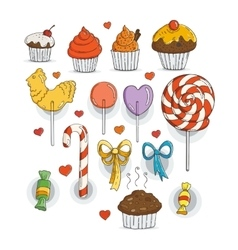 Set of candy and muffins icons vector