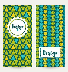 Set hipster backgrounds in blues and greens hand vector