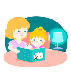 A of a mother reading a bedtime vector