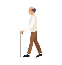 Bald man elderly walking with cane stick vector