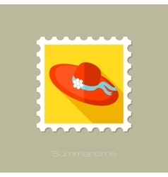 Beach hat flat stamp with long shadow vector