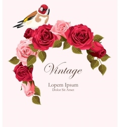 Beautiful vintage card with goldfinch vector image vector image