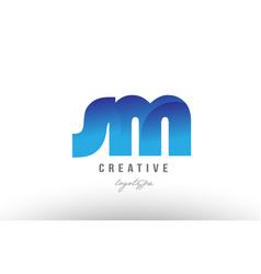 Blue gradient sm s m alphabet letter logo vector
