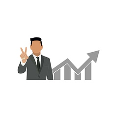 Businessman holds two fingers symbol vector