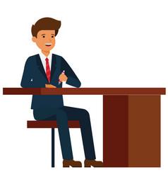 Businessman sitting on office table cartoon fla vector