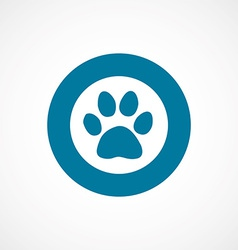 Cat footprint bold blue border circle icon vector