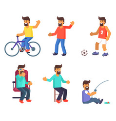cheerful man lives active life vector image vector image