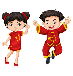 Chinese boy and girl in red costume vector