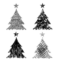Christmas trees with drawing structure vector