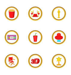 Cinema club icons set cartoon style vector