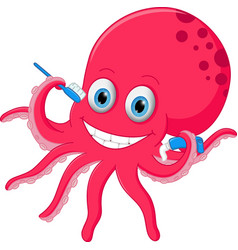 Cute octopus cartoon with toothbrush and toothpast vector