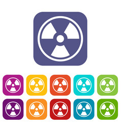 Danger nuclear icons set vector