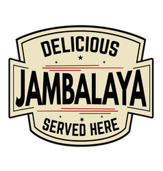 delicious jambalaya label or icon vector image vector image