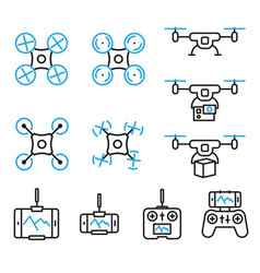 Flying drone flat line style icons bicolor set vector