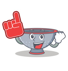 Foam finger colander utensil character cartoon vector