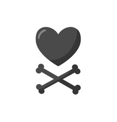 Heart and crossbones flat icon vector