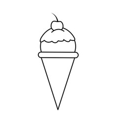ice cream cone with cherry on top icon image vector image