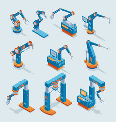 isometric industrial factory automation elements vector image