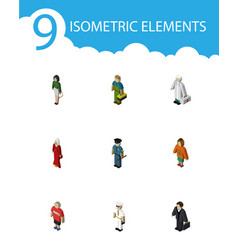 Isometric people set of officer pedagogue guy vector