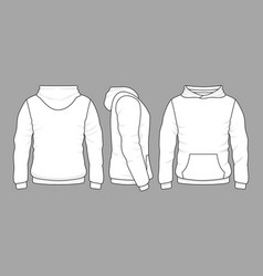male hoodie sweatshirt in front back and side vector image