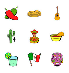Mexican tradition icons set cartoon style vector