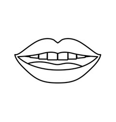 Monochrome contour of smiling mouth vector