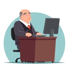 Old adult businessman work computer table vector
