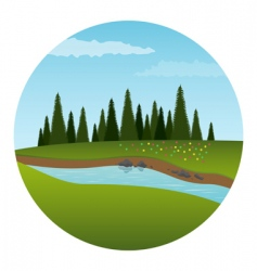 River and forest illustration vector
