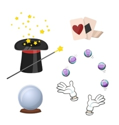 Set of icons for divination and magic tricks vector