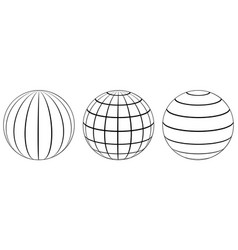 Set spheres globe earth grid latitude longitude vector