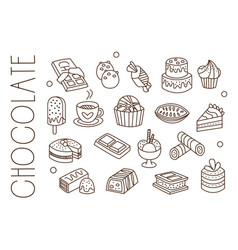Set with chocolate sweets ice-cream hot cocoa vector