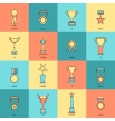 Trophy icons set flat line vector