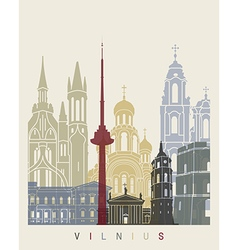Vilnius skyline poster vector image vector image