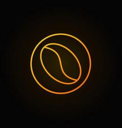 Yellow coffee bean line icon on dark vector