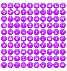 100 child center icons set purple vector