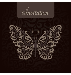 Invitation with abstract butterfly vector