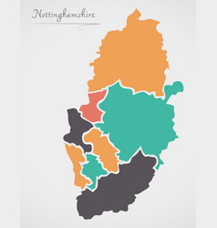 Nottinghamshire england map with states and vector