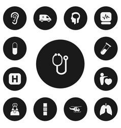 Set of 13 editable hospital icons includes vector