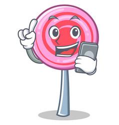 With phone cute lollipop character cartoon vector