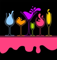 Silhouette of splash wine glass vector