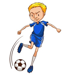 A soccer player wearing a blue uniform vector