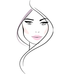 Beautiful girl with wavy hair and pink lips vector