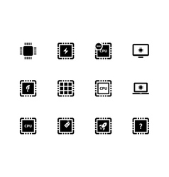 Cpu and microprocessor icons on white background vector