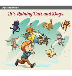 An idiom showing a rain with animals vector image