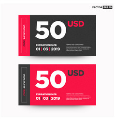 50 usd gift card template vector image vector image