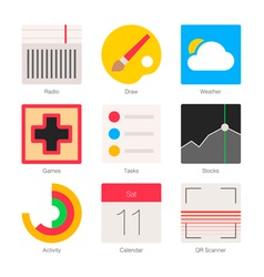 Minimal flat icons for mobile phones set 4 vector
