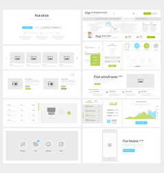 Flat website mobile ui kit for business templates vector
