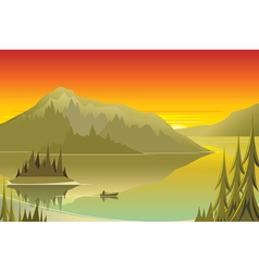 Canoe at sunrise vector