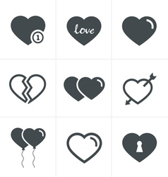 hearts Icons Set Design vector image